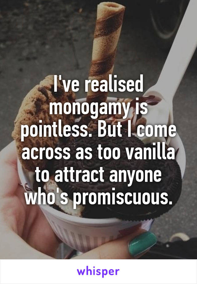 I've realised monogamy is pointless. But I come across as too vanilla to attract anyone who's promiscuous.