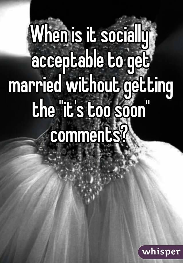 got married too soon