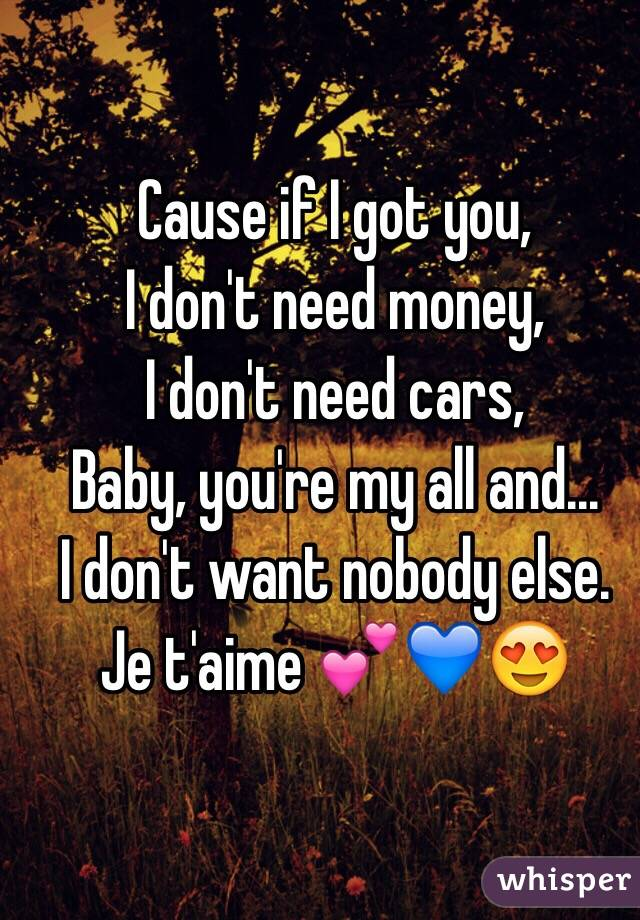 Cause If I Got You I Dont Need Money I Dont Need Cars Baby