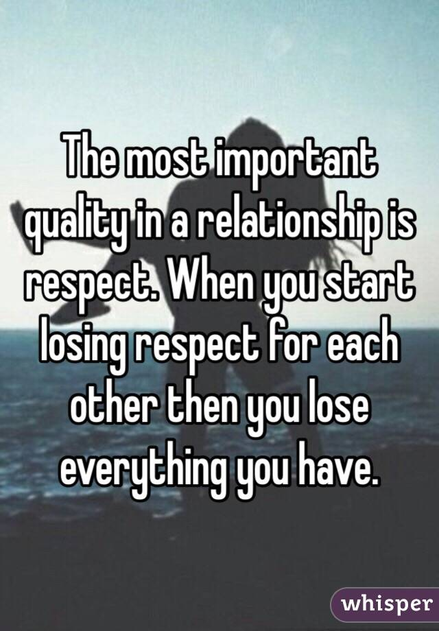 Most important quality in a relationship