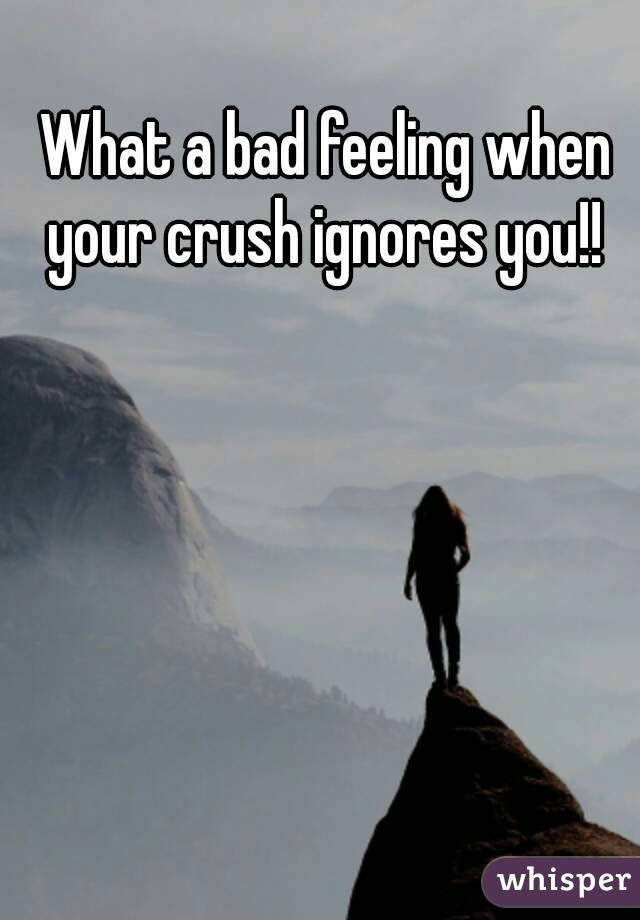 What a bad feeling when your crush ignores you!!