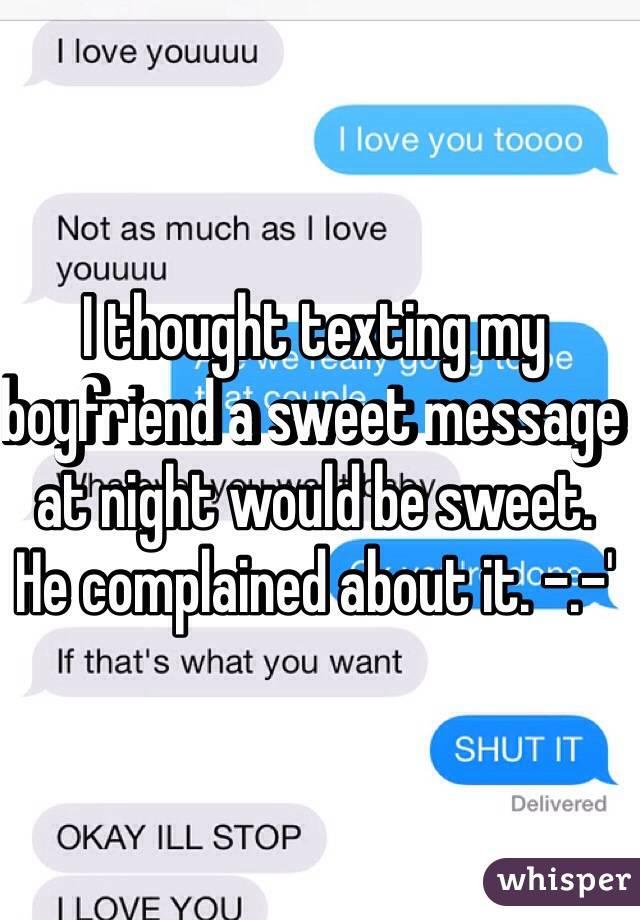 Sweet message for my boyfriend