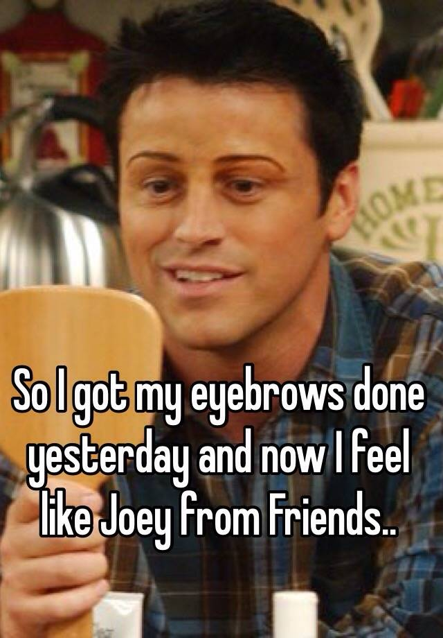 So I Got My Eyebrows Done Yesterday And Now I Feel Like Joey From