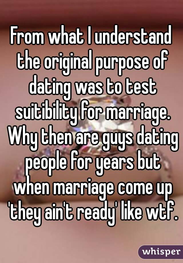 From what I understand the original purpose of dating was to