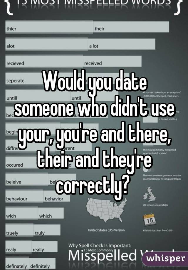 Would you date someone who didn't use your, you're and there, their and they're correctly?