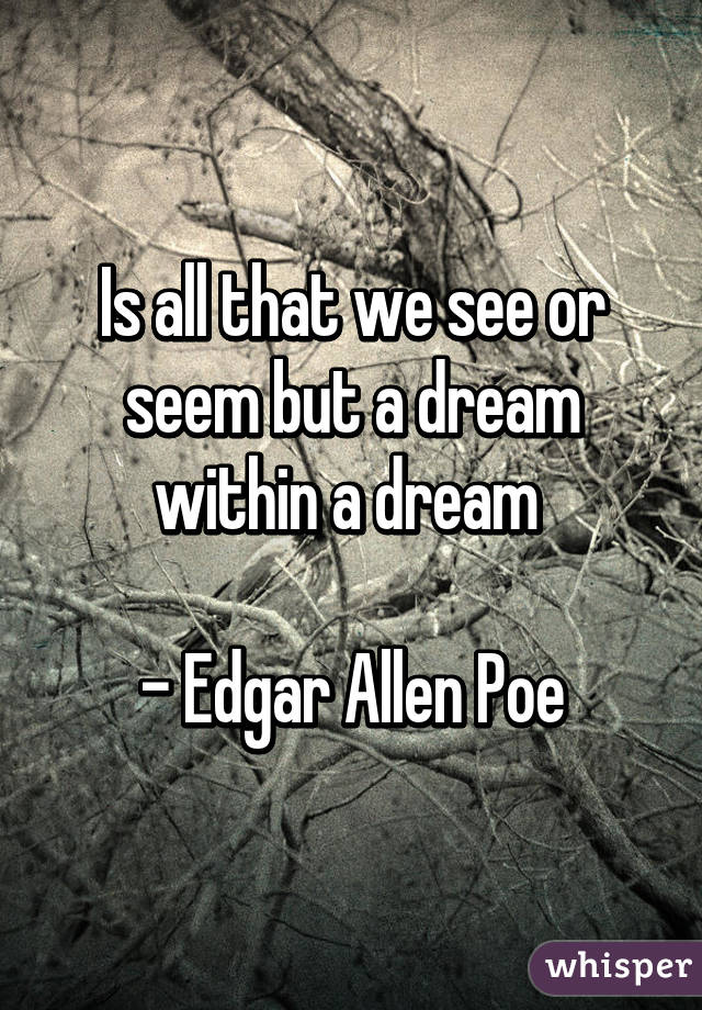 Is all that we see or seem but a dream within a dream   - Edgar Allen Poe