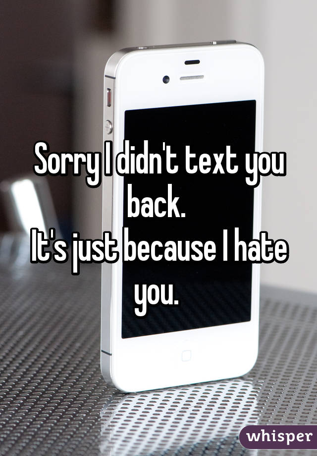 Sorry I didn't text you back.  It's just because I hate you.