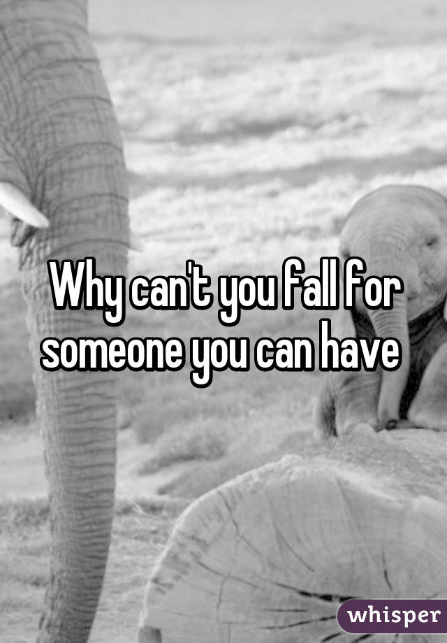 Why can't you fall for someone you can have