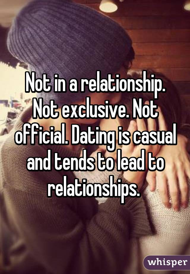Exclusively dating but not officially dating