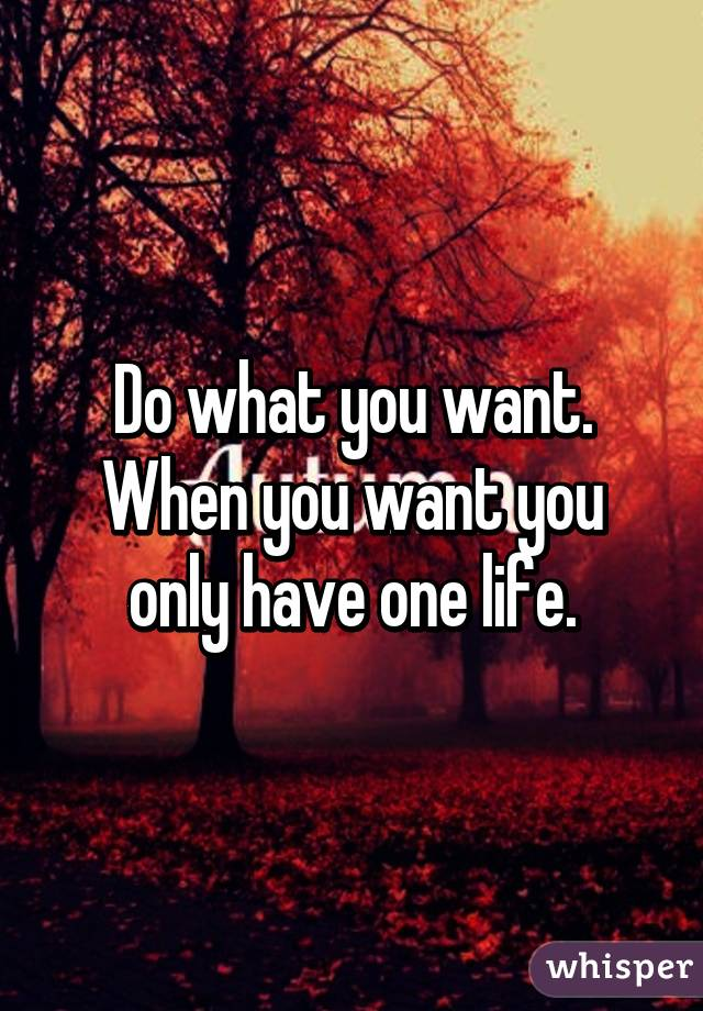 Do what you want  When you want you only have one life
