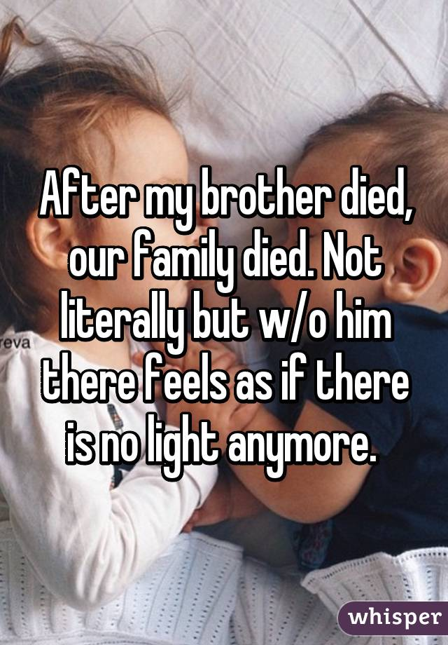 After my brother died, our family died. Not literally but w/o him there feels as if there is no light anymore.