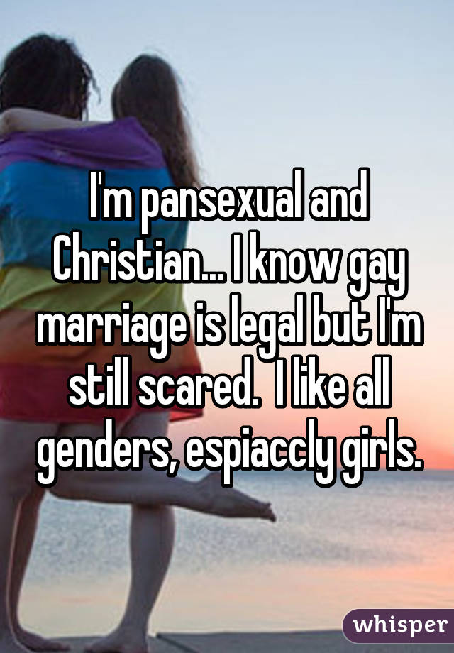 I'm pansexual and Christian... I know gay marriage is legal but I'm still scared.  I like all genders, espiaccly girls.