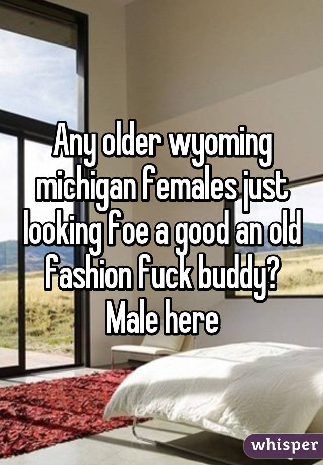 Any older wyoming michigan females just looking foe a good an old fashion fuck buddy? Male here