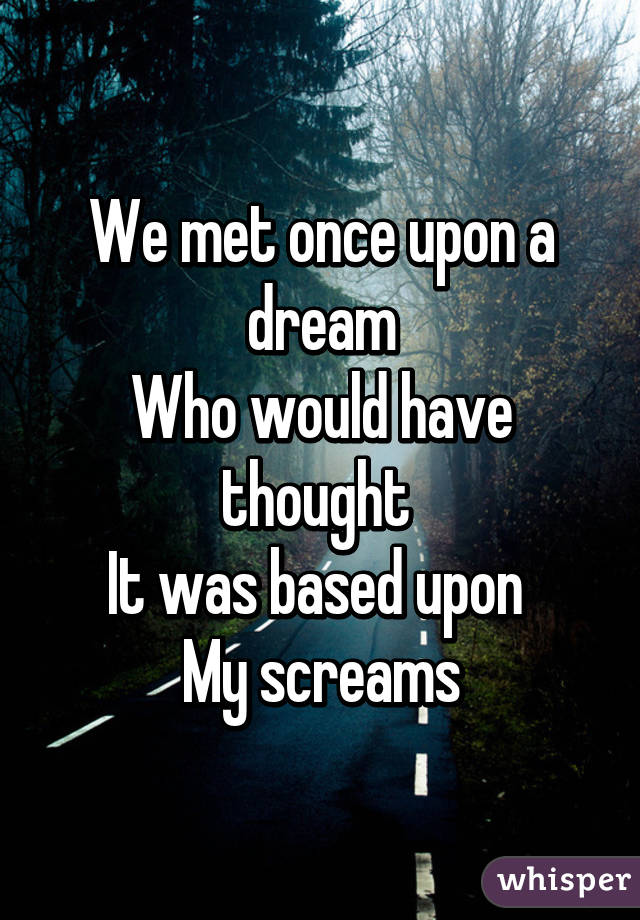 We met once upon a dream Who would have thought  It was based upon  My screams