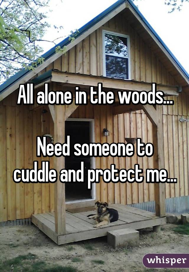 All alone in the woods...  Need someone to cuddle and protect me...