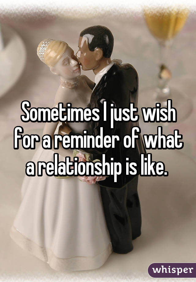 Sometimes I just wish for a reminder of what a relationship is like.