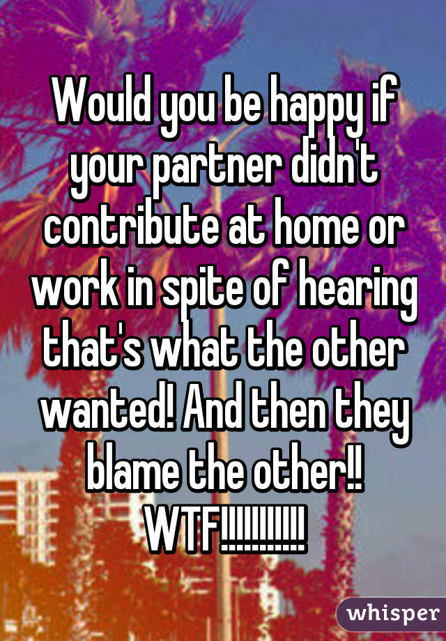 Would you be happy if your partner didn't contribute at home or work in spite of hearing that's what the other wanted! And then they blame the other!! WTF!!!!!!!!!!!
