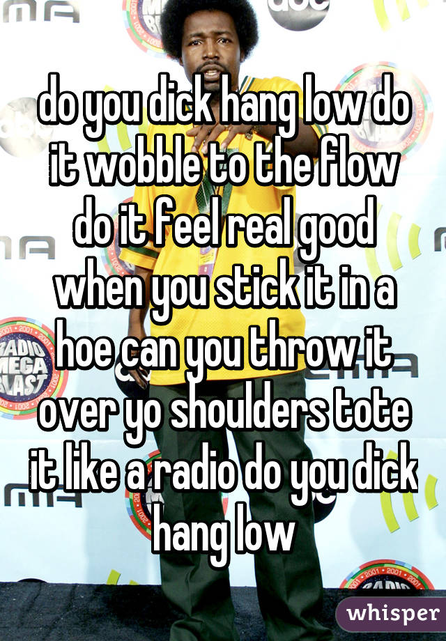 do you dick hang low do it wobble to the flow do it feel real good when you stick it in a hoe can you throw it over yo shoulders tote it like a radio do you dick hang low