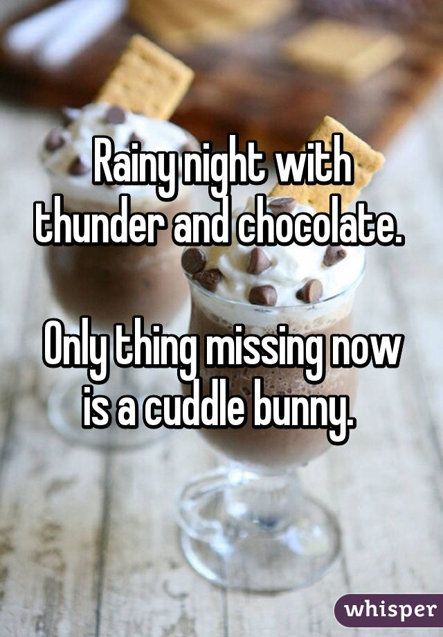 Rainy night with thunder and chocolate.   Only thing missing now is a cuddle bunny.