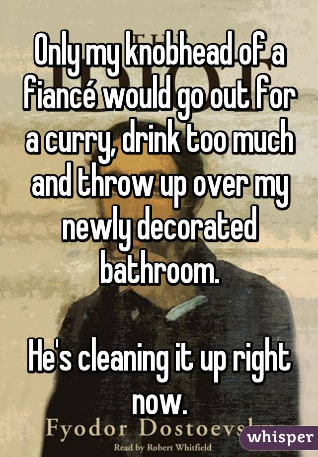 Only my knobhead of a fiancé would go out for a curry, drink too much and throw up over my newly decorated bathroom.  He's cleaning it up right now.