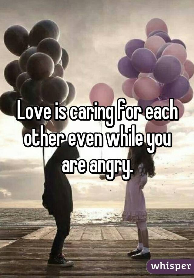 Love is caring for each other even while you are angry.