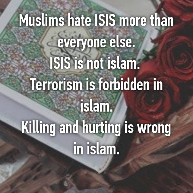 Muslims hate ISIS more than everyone else. ISIS is not islam.  Terrorism is forbidden in islam. Killing and hurting is wrong in islam.
