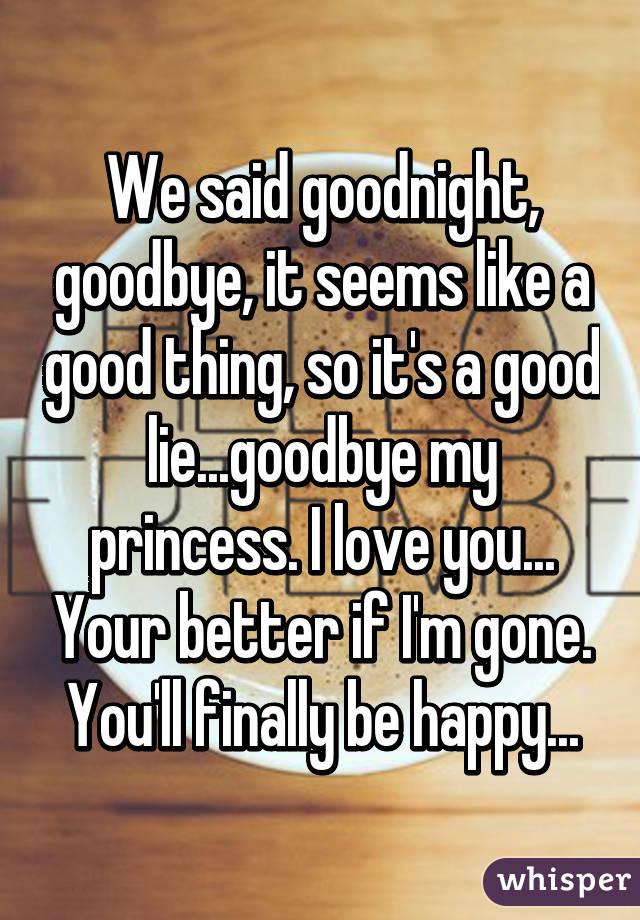 we said goodnight goodbye it seems like a good thing so its a good liegoodbye my princess i love you
