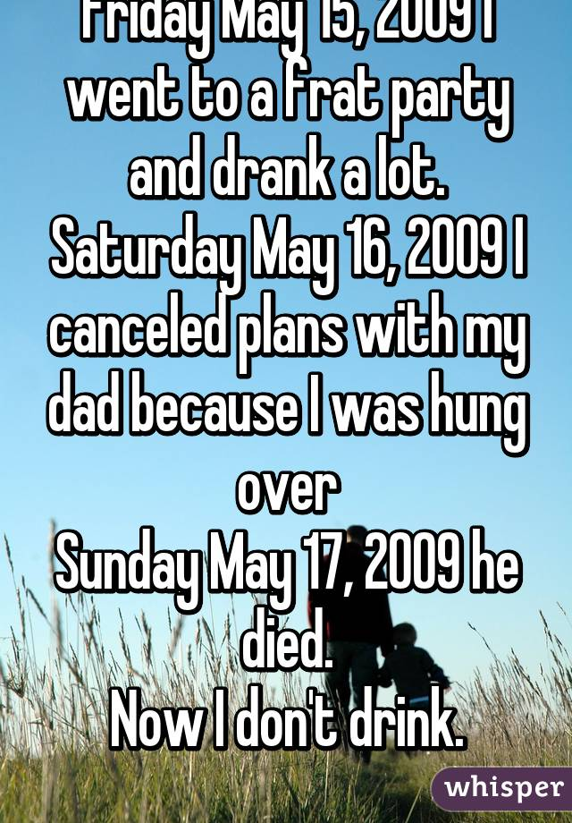 Friday May 15, 2009 I went to a frat party and drank a lot. Saturday May 16, 2009 I canceled plans with my dad because I was hung over Sunday May 17, 2009 he died. Now I don't drink.
