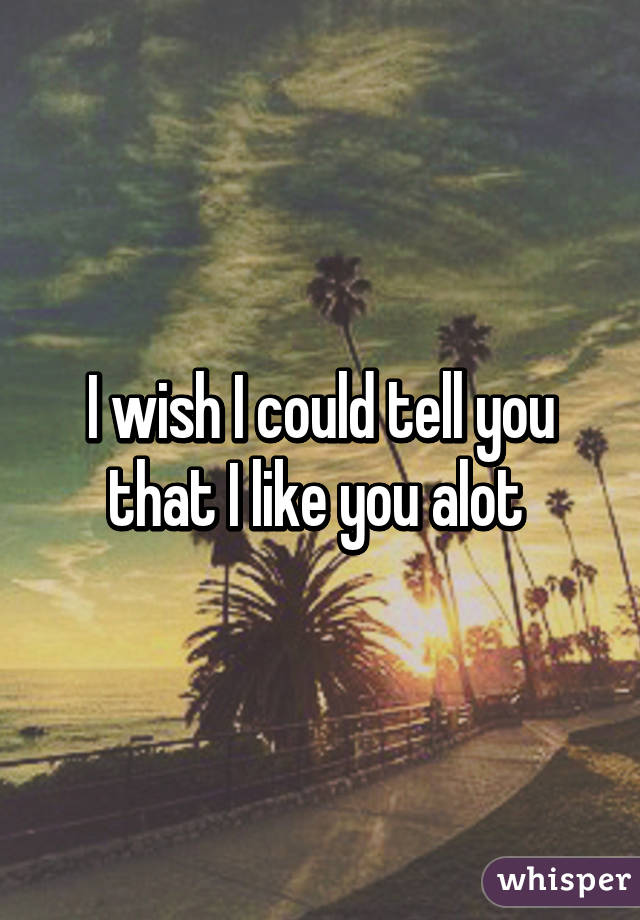 I wish I could tell you that I like you alot