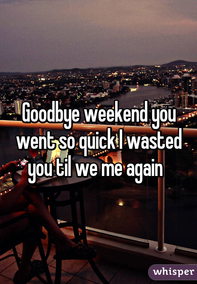 Goodbye weekend you went so quick I wasted you til we me again