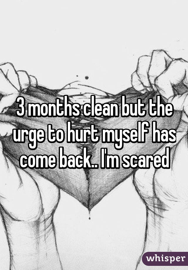 3 months clean but the urge to hurt myself has come back.. I'm scared