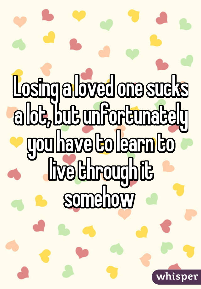 Losing a loved one sucks a lot, but unfortunately you have to learn to live through it somehow