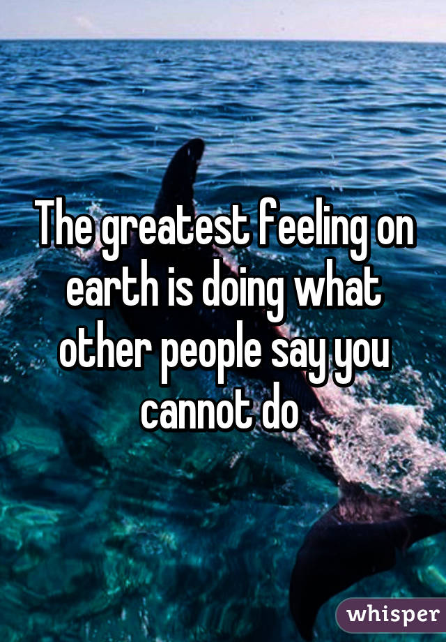 The greatest feeling on earth is doing what other people say you cannot do