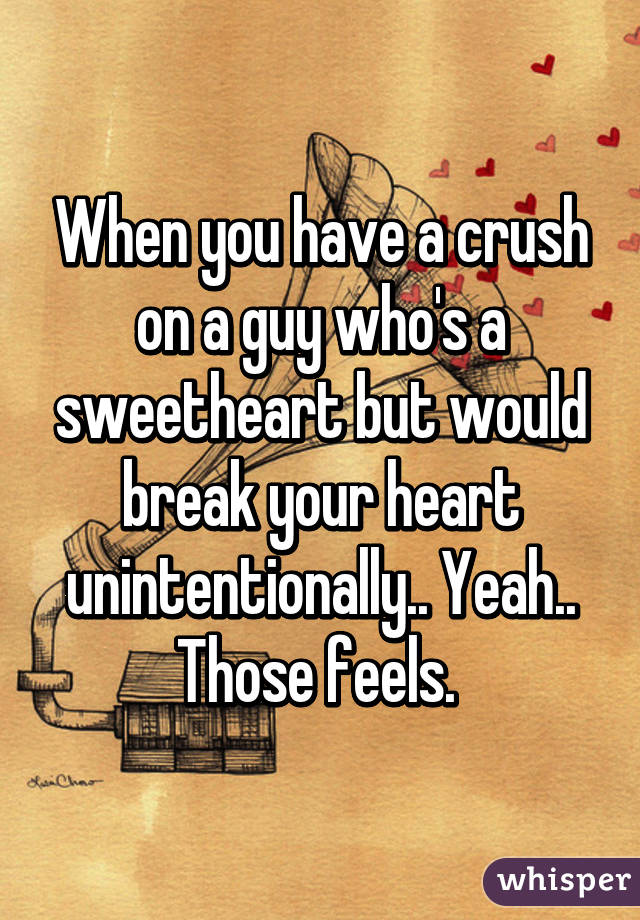 When you have a crush on a guy who's a sweetheart but would break your heart unintentionally.. Yeah.. Those feels.
