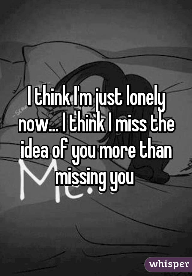 I think I'm just lonely now... I think I miss the idea of you more than missing you