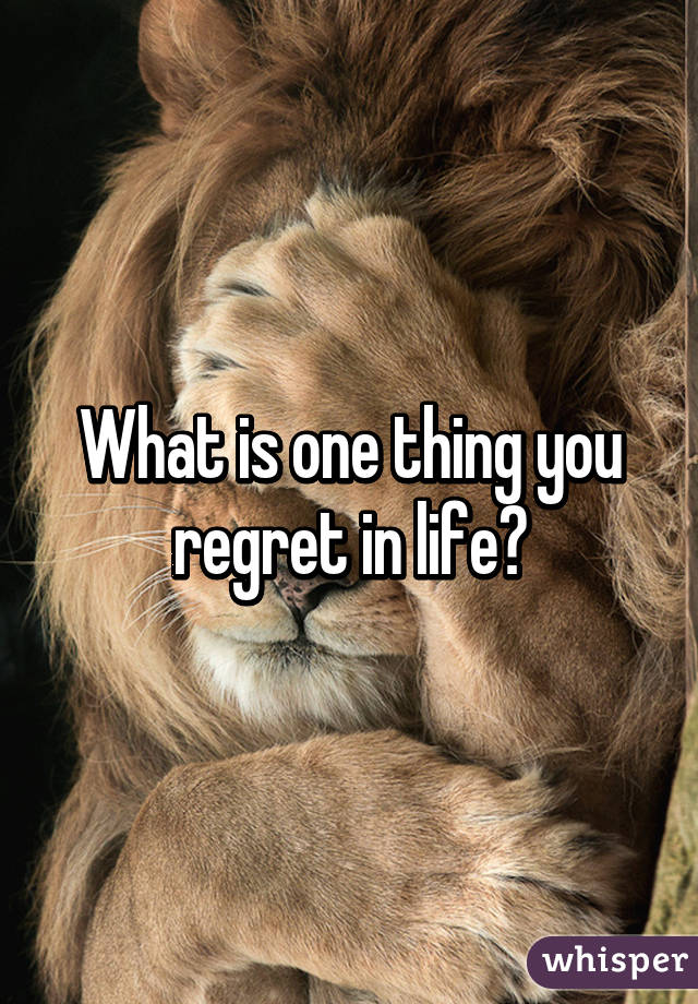 What is one thing you regret in life?