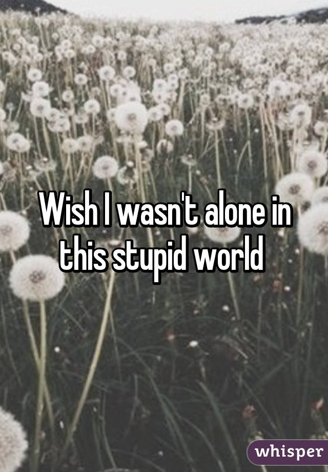 Wish I wasn't alone in this stupid world