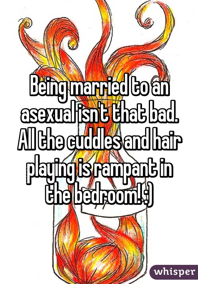 Being married to an asexual isn't that bad. All the cuddles and hair playing is rampant in the bedroom! :)
