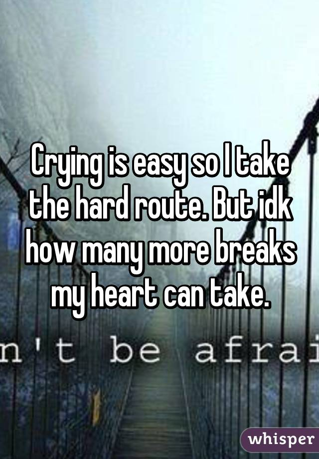 Crying is easy so I take the hard route. But idk how many more breaks my heart can take.