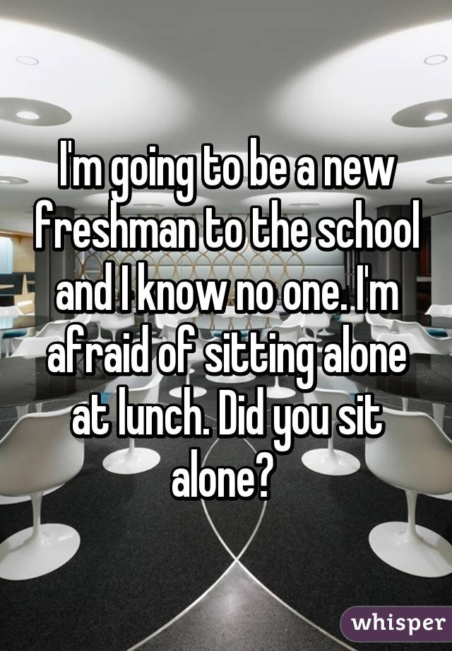 I'm going to be a new freshman to the school and I know no one. I'm afraid of sitting alone at lunch. Did you sit alone?