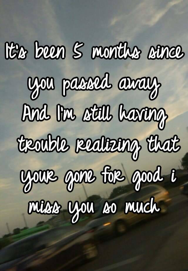 It's been 5 months since you passed away And I'm still ...