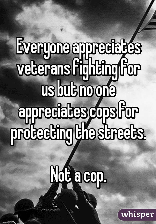Everyone appreciates veterans fighting for us but no one