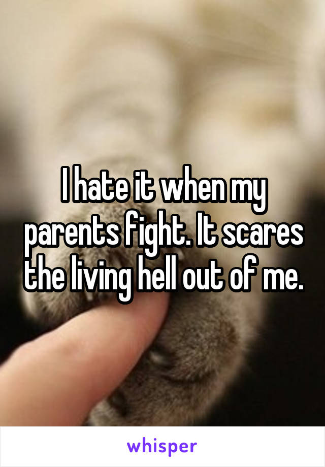 I hate it when my parents fight. It scares the living hell out of me.