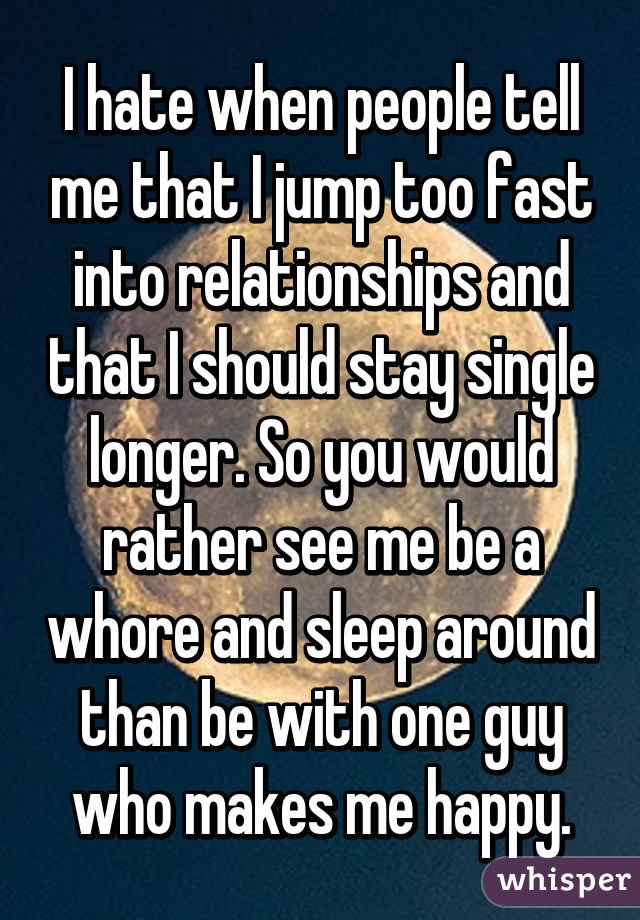 Getting into a relationship too fast