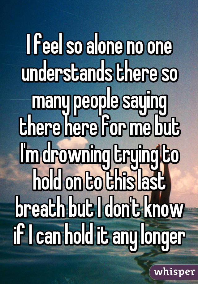 Beau I Feel So Alone No One Understands There So Many People Saying There Here  For Me