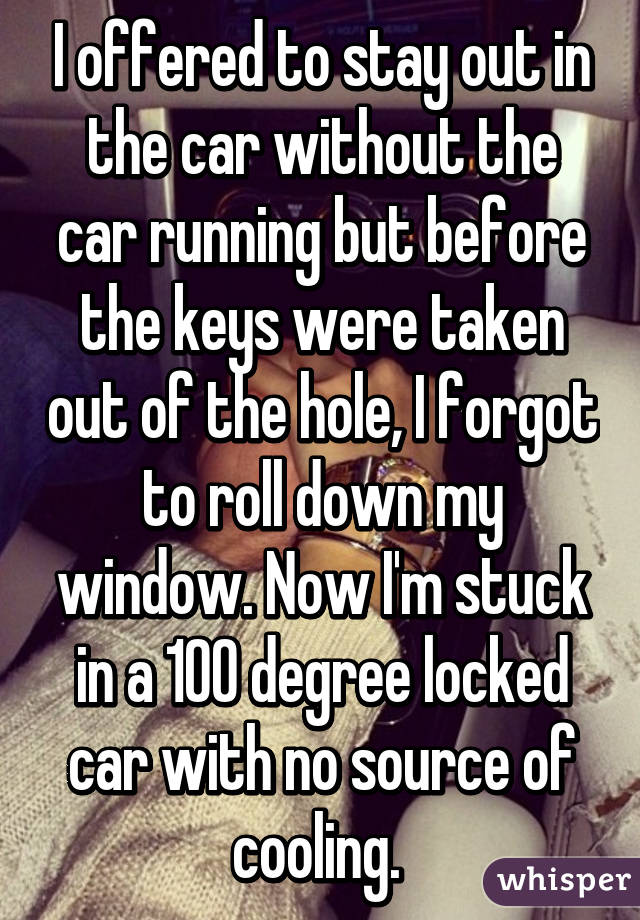I offered to stay out in the car without the car running but before the keys were taken out of the hole, I forgot to roll down my window. Now I'm stuck in a 100 degree locked car with no source of cooling.
