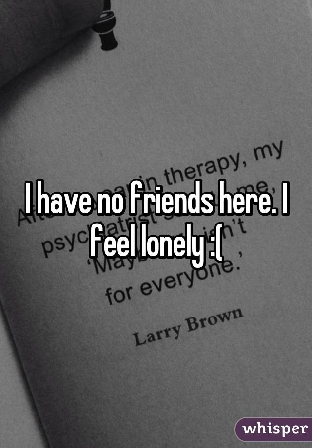 Having no friends and feeling lonely