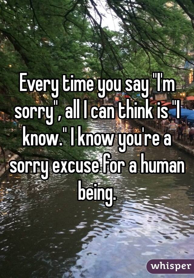 """Every time you say """"I'm sorry"""", all I can think is """"I know."""" I know you're a sorry excuse for a human being."""