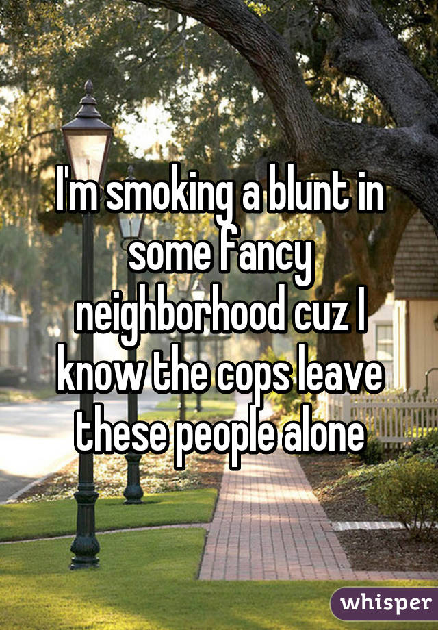 I'm smoking a blunt in some fancy neighborhood cuz I know the cops leave these people alone