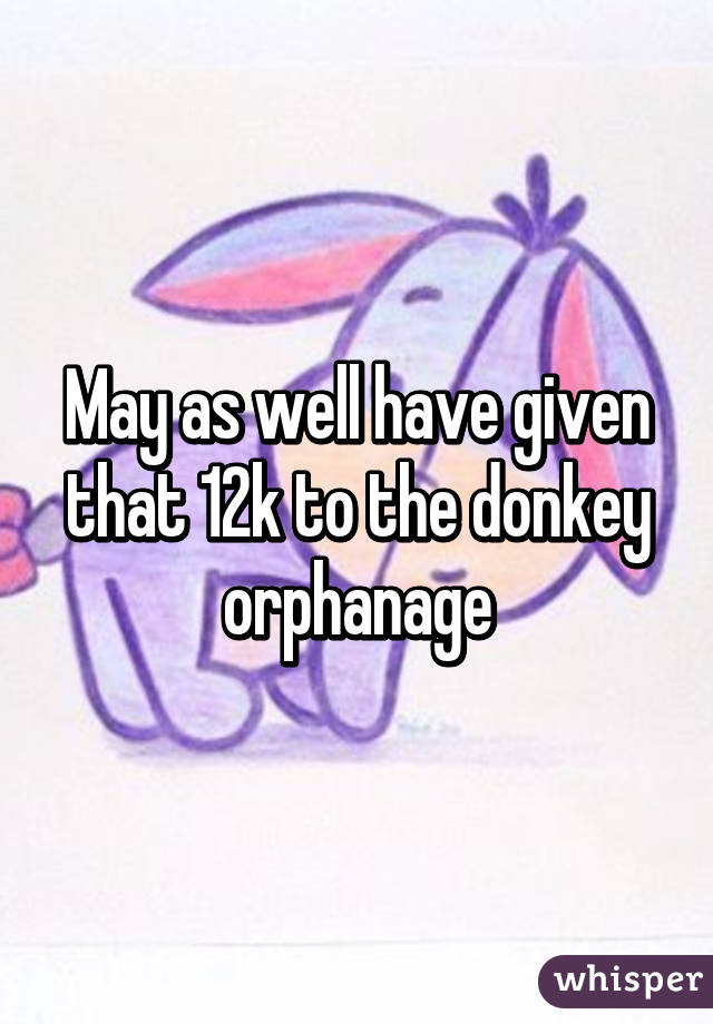 May as well have given that 12k to the donkey orphanage